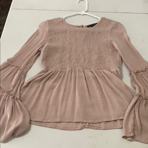 light dusty pink long sleeve ruffled shirt